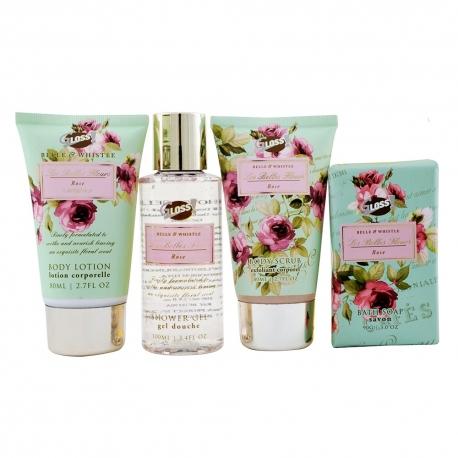 Coffret de bain au délicat parfum de rose - 4pcs