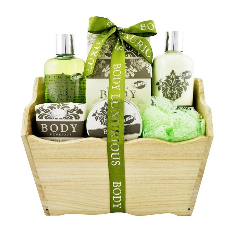 coffret de bain au parfum relaxant de th vert 6pcs. Black Bedroom Furniture Sets. Home Design Ideas