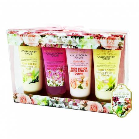 Coffret de bain rose,lys,freesia,jasmin,magnolia - 4pcs