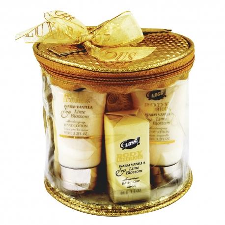 GLoss - Coffret cadeau De Bain Pour Femme - Trousse avec une crème pour les mains - Collection Body Luxurious - Vanille/Tilleul