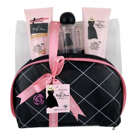 GLoss - Coffret cadeau de Bain Pour Femme avec un cœur effervescent - Sac noir et rose - Collection The Pretty Dress - Rose