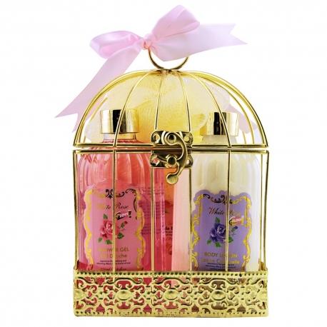 Coffret de bain relaxant rose, jasmin et magnolia - 4pcs