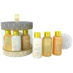 Coffret de bain au parfum délicat vanille tilleul - 4pcs