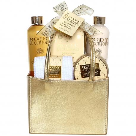 Gloss! Coffret cadeau - Sac de Bain - Collection Body Luxurious Gold - Vanille Tilleul