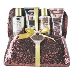 Gloss! Coffret cadeau - Pochette de bain marron pailletée - Vanille/Nectarine blanche