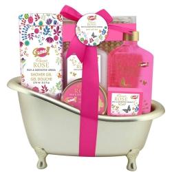 Gloss - Coffret de bain Femme - Baignoire dorée - Collection Gold - Rose