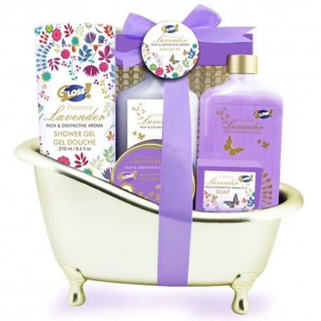 Gloss - Coffret cadeau bain pour femme - Baignoire de bain dorée - Collection Lavender - Lys et Freesia