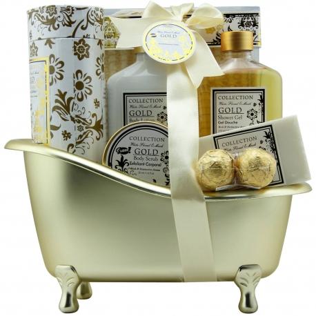 Gloss - Coffret cadeau de bain Pour Femme - Baignoire de Bain dorée - Collection Gold - Fleurs blanches et Muscs