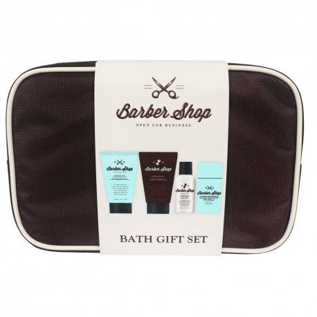 Gloss - Coffret rasage pour homme - Trousse de bain marron incluant un set de manucure - Aloe vera et Menthe poivrée