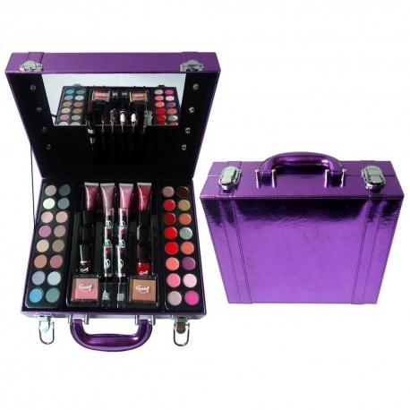 Gloss - Mallette de Maquillage viollette - Collection Studio Hollywood avec des ampoules décoratives - Idée cadeau beauté