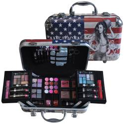 Gloss - Mallette de maquillage XXXL incluant 4 vernis - Design USA Tour - Idée cadeau Beauté