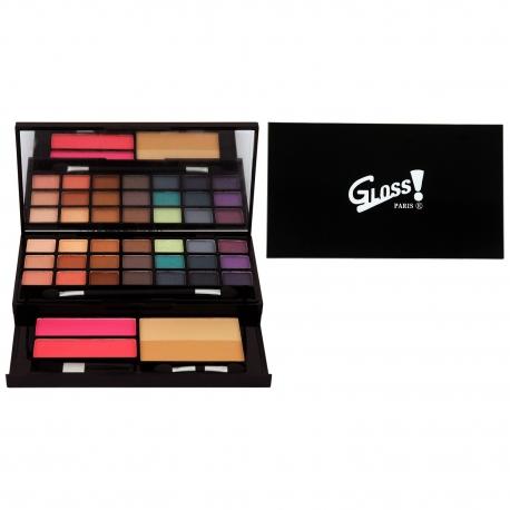 Gloss - Palette de maquillage - Visage & Ombres à paupières Mat et Shimmer incluant 2 blushs et des pinceaux - Idée cadeau