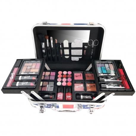 Mallette de maquillage London UK rouge - 62pcs