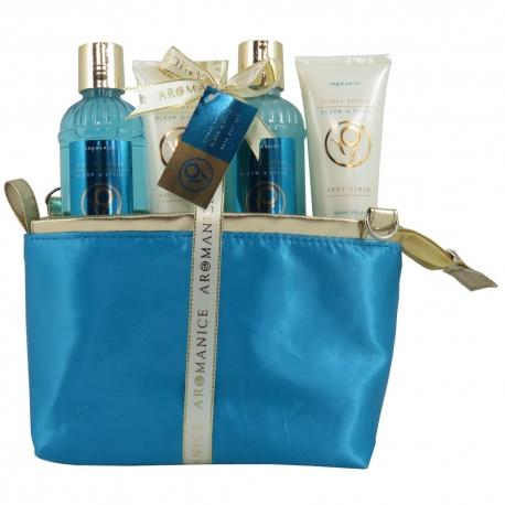 GLoss - Coffret cadeau De Bain Pour Femme - Trousse bleu et dorée - Collection Aromanice - Agrumes et Orchidée