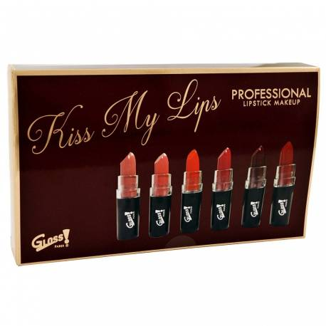 GLoss - Coffret cadeau beauté - Kit de 6 rouges à lèvres mat- Collection Kiss Me Up