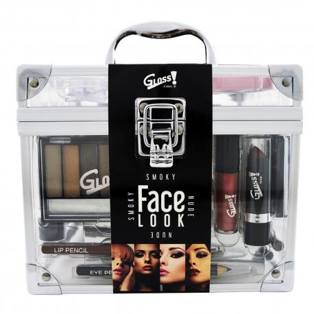 Gloss - Mallette de maquillage XXL avec vernis à ongles & des stickers - Format Vanity - Collection Face Look - Idée cadeau