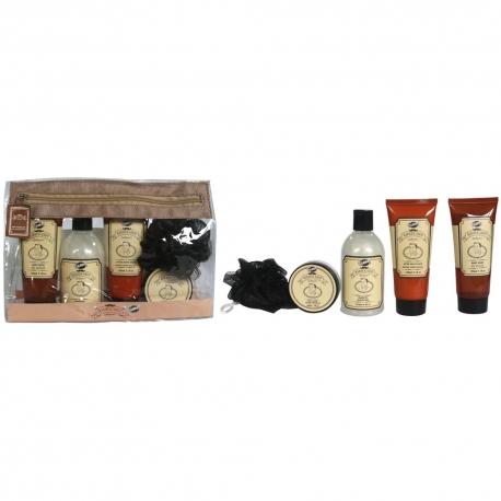 Gloss - Kit Bain/Rasage homme avec lotion corporelle - Sacoche transparente - Collection Barber Shop - Aloé Vera/Menthe poivrée